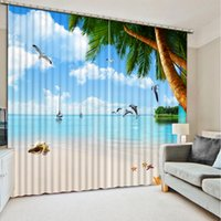 Wholesale Home Decor Living Room Curtain Natural Art exterior house decor beach ocean d curtains window curtains for living room