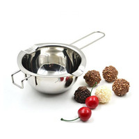 Wholesale Metal Furnace - Hot Sale Stainless Steel Chocolate Melting Pot Furnace Heated Milk Bowl with Handle Heated Butter Baking Pastry Tools ZA3209