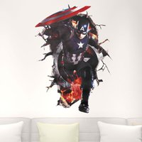 Wholesale iron man wall stickers - The Avengers Wall Stickers 3D Hero Captain America Iron Man wall decoration for Window living rooms Bedroom Boys Favor