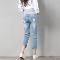 Wholesale Overalls Pregnant - Jeans Maternity Pants For Pregnant Women Clothes Trousers Nursing Prop Belly Legging Pregnancy Clothing Overalls Ninth Pants New 2114017