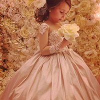 ingrosso vestidos festa longo merletto-2017 Flower Girl Dresses Glitz Rosa Increspato Pizzo Impreziosito Principi Maniche Lunghe Prima Comunione Abiti da Spettacolo Vestido Longo