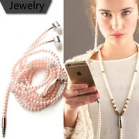 Wholesale Iphone Pearl Pink - 2017 new Wired Jewelry Pearl Necklace Earphones Handsfree Headphone Headset Beads Pink for IOS Android Cell Phone Accessories for iphone