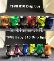 Wholesale Baby Gourd - Epoxy Resin Gourd Shape Drip Tips 810 TFV8 Wide Bore Mouthpiece Epoxide Resin + Stainless Steel TFV8 Baby 510 tips fit 510 Atomizers