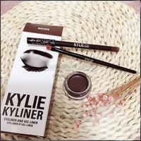 Wholesale Eyeshadow Gels - 3 in 1 Kylie Eyeliner and Gel Liner + Eyeshadow Brush Birthday Edition Kylie Jenner Kit Black Dark Bronze Brown free shipping