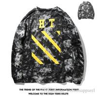 Wholesale Men S Tie Stripe Neck - OFF WHITE Brand BASIC LOGO HOODIES Tie-dye Marble Black And Yellow Stripes Men Women Leisure Hoodies Teenager Hip Hop Streetshirt Tops