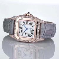 роскошные часы бриллианты оптовых-Мода роскошные часы унисекс женщины мужчины часы квадратные алмазы безель Кожаный ремешок топ Марка Кварцевые наручные часы для мужчин Леди лучший подарок