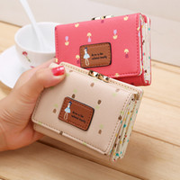 Wholesale floral clip wallet resale online - Fashionable new PU PI fold lady money clip the lovely small zero purse flower purse