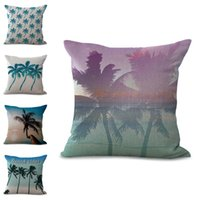 Wholesale sofa decorations - Coconut tree Cushion Covers Ocean Beach Pillow Cases Linen Cotton pillow Covers Bedroom Sofa Decoration tree plant pillowcase 300690