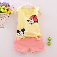 Wholesale Mikey Clothes - Wholesale- Girls Clothing Sets Kids Minnie Vest + Shorts 2 Pcs Suits Sleeveless Summer Children Mikey Clothing Set Baby Boys