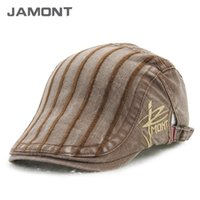 Wholesale JAMONT New Autumn Winter Vintage Striped Berets Men s Beret Hats Z shoescompany Exclusive customized design brand