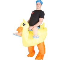 Wholesale Lyjenny Yellow Color Funny Cute Duck Adult Inflatable Costumes With Cap for Christmas Halloween Carnival Party