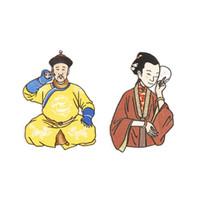 китайский народ оптовых-2017 Китай древние люди искусства ремесла вышивка универсальная ткань паста одежда ткань паста мешок наклейки подарки