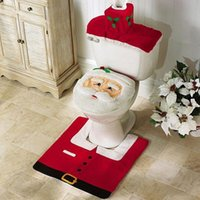 Wholesale Thick Bathroom Rugs - Wholesale-Santa claus toilet seat cover bathroom accessories tank cover flooring rug christmas decoration holiday gifts art home decor