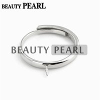 Bulk of 3 Pieces Pearl Ring Semi Mount Findings 925 Sterling Silver Simples Anel Configurações da Base Base Branca