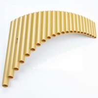 Wholesale Musical Folk Instruments - Wholesale- Hot Selling UU 22 Pipe ABS plastic Panpipe G Key Panflute Handmade Folk Musical Instruments golden color Pan flute free shipping