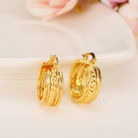 Wholesale Earings Designs - New Design Circle Earrings 18K Yellow Solid Gold GF Twisted Wide Earings Women Girls Romantic Jewelry Wedding Fine Gift