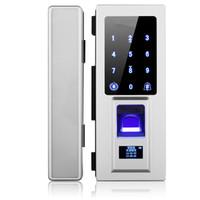 Wholesale Door Locks Electronic Fingerprint - DIY glass door special Electronic Door Lock Touch Screen Fingerprint  Password Digital Code  RFID Card Keyless Latch Bolt Lock