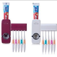 Wholesale Bathroom Accessory Kits - Touch Me Toothpaste Dispenser Set Automatic Plastic Hanging Dentifrice Squeezer Kit Safe Toothbrush Holders Bathroom Accessories 5 5hh B