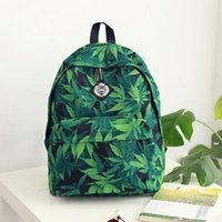 oxford literature - New lady green leaves printing backpack Students bag fresh college of literature bag art wind purse no172