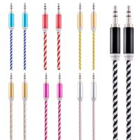 Wholesale Iphone Car Cord - 1m 3FT 7 Colorful Braided Alloy Fabric 3.5Mm Male to Male Car audio aux cable cord wire for iphone 5 6 for samsung mp3 pc speaker headphone
