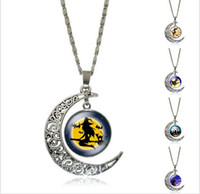 Wholesale New Fashion Jewelry Halloween Witch Pumpkin Skull Necklace Bracelets Creative time Gem Necklace Moon Pendant Necklace styles DHLFREE