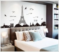 Wholesale Eiffel Tower Decals - Free shipping Romantic Paris Eiffel Tower Beautiful View of France DIY Wall Stickers WallpaperArt Decor Mural Room Decal