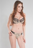 Wholesale Yellow Sexy Panty - French Brand Plunge Sexy Embroidery Bra Panty Set Nude Leopard Underwear Sets Max Cup Bra 32E 32F 34D 34E 36DD 38D 40D 40E 42DD
