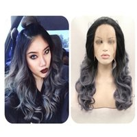 Wholesale Glueless Remy Yaki Wigs - Glueless Full Lace Wigs Remy Human Hair Wavy Brazilian Lace Front Wig For Black Women Ombre 1b grey Human Hair Wigs
