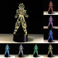 bolas de acrílico del dragón al por mayor-Dragon Ball Z Súper Saiyan Goku 3D LED Lámpara de mesa Touch Colorful 7 Cambio de Color Acrílico Luz Nocturna Niños Regalos Decoración para el hogar