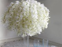 Wholesale Diy Home Decor Flower Bouquet - DIY Artificial White Wisteria Silk Flower For Home Party Wedding Garden Floral Decoration Living Room Valentine Day Centerpieces Table Decor