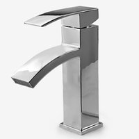 Wholesale Waterfall Basin Mixers - Bathroom Faucet Chrome-hearts Finished Top quality Brass Waterfall Basin Tap Chrome Faucet Hot And Cold Water Mixer Ceramic Valv