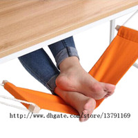 Canvas Foot Hammock Office Desk Table Adjustable Foot Rest Stand Comfortable for Your Foot Relieve Fatigue Orange