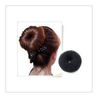Wholesale Girls Hair Extension Clips - Fashion Women Girls Hair Clips Bun Black Donut Synthetic Scrunchie Hair Bun Cover Bun Cage Wrap Maker Hairpiece Clip in Hair Extension Brid