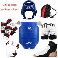 Wholesale Wtf Taekwondo - Wholesale- WTF Taekwondo Sparring Gear Protectors Guards complete set 8 pcs