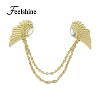 Wholesale Wings Collar Clip - Wholesale- 2016 Spring Hot Selling Accessories Steampunk Chain With Wing Clip Collar Maxi Necklaces & Pendants For Women
