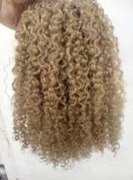 18 22 extensiones de cabello rubio al por mayor-brasileño virgen humano remy clip ins extensiones de cabello rizado rizado trama del cabello medum marrón oscuro color rubio
