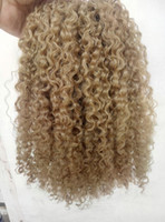 Wholesale Kinky Blonde Hair Extensions - brazilian human virgin remy clip ins hair extensions kinky curls hair weft medum brown dark blonde color