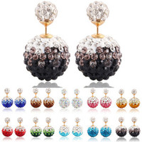 kristallperle shamballa großhandel-Crystal Disco Ball Silber Ohrringe Shamballa Stud Ohrring Kristall doppelseitige Perle Süßigkeiten Ohrringe Prinzessin Diamant Ohrringe M019