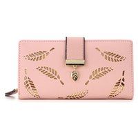 Mujeres Monedero Cartera Larga Oro Hollow Leaves Pouch Wallet Para Mujer