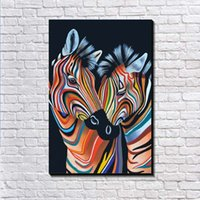 Wholesale Love Cartoon Painting - Modernism Canvas Art European Oil Painting Loving zebra Print On Canvas Wall Art Picture Canvas Poster for Living Room Wall Painting