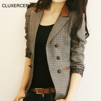 Wholesale Double Breasted Slim Fit Suits - CLUXERCER Brand Blazer Women Plaid Elbow Patches Double Breasted Slim Fit Ladies Suit Jacket Coat Casual Blazers