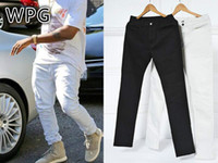 stage pants - WPG high street fashion men pants mens jumpsuit stage rockstar denim moto fog black white kanye skinny jeans