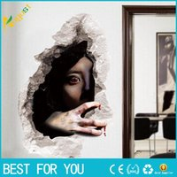 Wholesale Hot Girls Posters - Hot sale New Ghost Banshees Vampire Cracked Wall Stickers Halloween Decor Wallpaper Poster Horrible Maneating Girl Wall Applique Decal