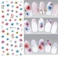 harajuku nagelaufkleber großhandel-DS310 Wassertransfer Nails Art Sticker Harajuku Elemente Bunte Fantacy verschwommene Blumen Nail Wraps Aufkleber Manicura Decal