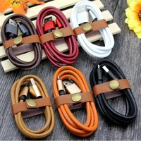 Wholesale Orange Smart Cell Phone - Cell phone cables 2.1A fast Charging Cable Micro USB Charger Data Sync Cable For Smart Cell phone Tablet PC leather +metal data cable USZ142