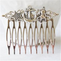 Wholesale 12pcs Anchor Hair Comb Beach Wedding hair comb octopus charm starfish charm hair comb