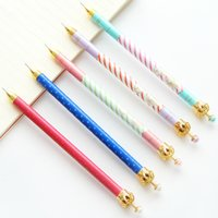 Wholesale Mechanical Pencil For Free - Wholesale-Cute Kawaii Crown Metal Mechanical Pencils for Kids Gift School Office Supplies Korean Stationery Free Shipping