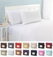 Wholesale Bedding Sheet Set Full Size - Bedding sets Fitted sheet Flat Sheet with Pillowcase Home hotel Microfiber Solid 4pcs set Twin Full Queen King sizes 2017