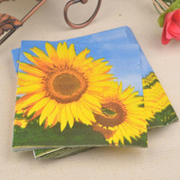 Plastic spring paper napkins - Sunflower Spring Sunshine Paper Napkin for Wedding Party decoration Virgin Wood Tissue Placemats Table accessories