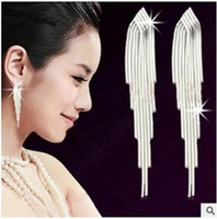 Wholesale Sterling Silver Edition - S 925 pure silver sterling silver earrings han edition style Super long tassel earrings exaggerated temperament tremella ear line